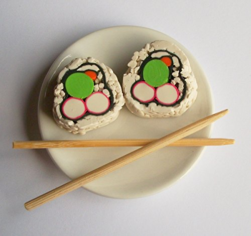 (Sushi California Roll Set of 2 on a Dish with Chopsticks - Perfect for 18 Inch American Girl® Dolls)