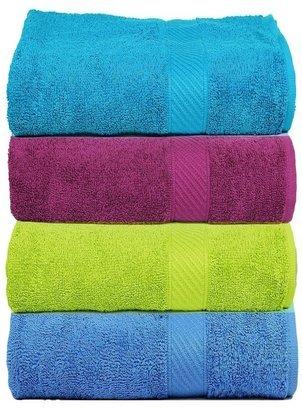 Trident 400 GSM 100 % Cotton 4 Pcs Hand Towels , 40 X 60 Cm.- Multicolor