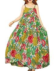 YESNO Women Casual Loose Bohemian Floral Print Dresses Spaghetti Strap Long Maxi Summer Beach Swing Dress 3XL E75 CR19