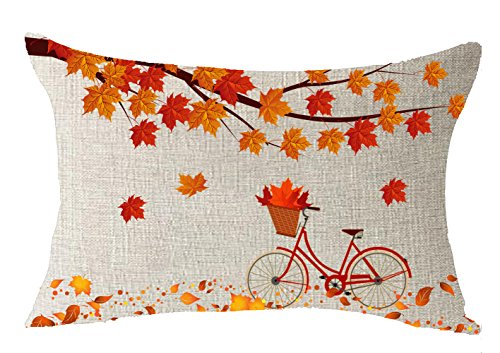 FELENIW Happy Fall Yall Maple Leaves Branch Falling Bicycle Carry Maple Leaves Throw Pillow Cover Cushion Case Cotton Linen Material Decorative Lumbar 12x20 inches