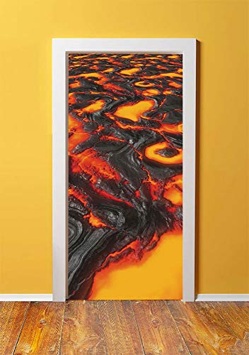 Volcano 3D Door Sticker Wall Decals Mural Wallpaper,Large Molten Lava Vibrant Colored Hot Flowing Magma Image Cracked Burning Earth Decorative,DIY Art Home Decor Poster Decoration - Lava Stone Tiles
