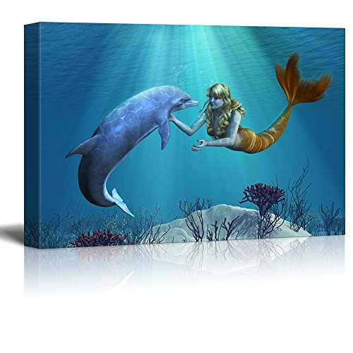 Dolphin Art - wall26 - Canvas Prints Wall Art - A Friendly Dolphin Greets a Mermaid Undersea - 16