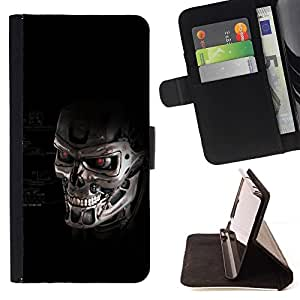 For Sony Xperia Z1 L39 Termnator Skull Robot Beautiful Print Wallet Leather Case Cover With Credit Card Slots And Stand Function