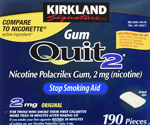 Kirkland Signature Quit Smoking Gum, 2 mg, 380 Count -