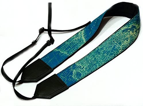 Black DSLR//SLR Camera Strap with Turquoise Water on Light Weight and Well Padded Camera Strap Durable InTePro World map Camera Strap Code 00049