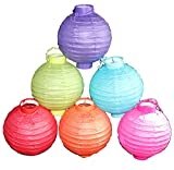 6 Battery-operated, Assorted Color Chinese/japanese Paper Lanterns 8'' Diameter