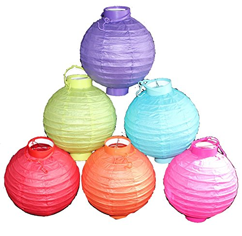 6 Battery-operated, Assorted Color Chinese/japanese Paper Lanterns 8' Diameter