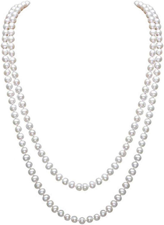 InnoBase Collar de Perlas Artificiales Falso Largo Blancas Artificiales de Moda Joyería de Accesorios para Disfraz de los Años 1920 Abalorios Flapper Charlestón para Mujer Niña