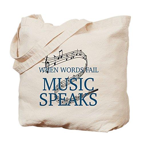 CafePress–cuando Words Fail, Music habla–Gamuza de bolsa de lona bolsa, bolsa de la compra Medium caqui