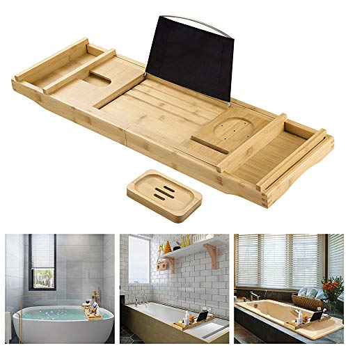 Yescom Extendable Bamboo Bathtub Caddy Tray Serving Tray Organizer Over Tub Rack Phone Tablet Holder 2 Side Trays