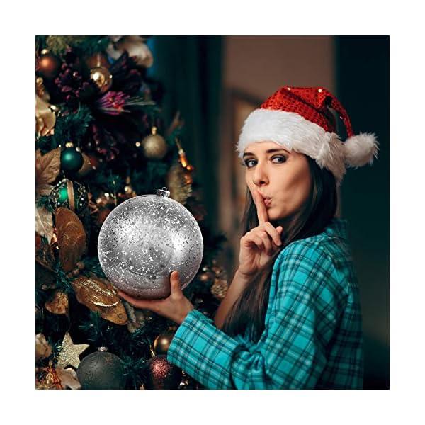 Palline di Natale Grandi Argento - Palline di Natale Argento da 19,5cm con Corda - Addobbi Natalizi Palle di Natale Argento - Palline di Natale Grandi in Plastica- Decorazioni Albero di Natale Argento 4 spesavip