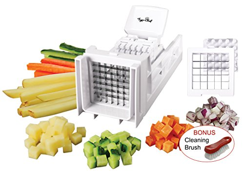 - Tiger Chef French Fry Cutter and Easy Vegetable Dicer Chopper With 2 Interchangeable Blades - Also Great for Onions, Carrots, Cucumbers and more (White)