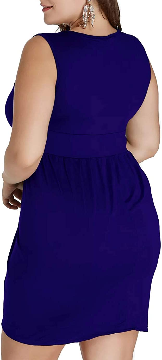 LAOLASI Womens Plus Size Sleeveless Deep V Neck Bodycon Wrap Dress with Front Slit