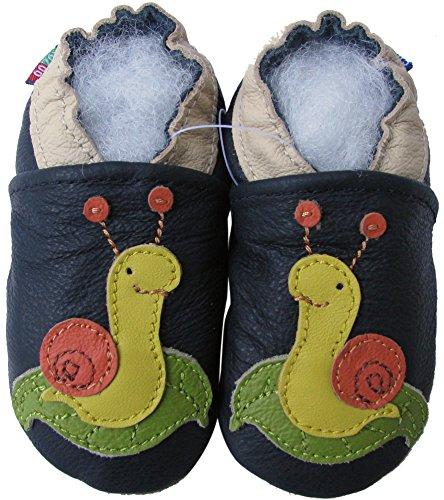 Carozoo unisex soft sole leather infant toddler kids shoes Snail Dark Blue 4-5y
