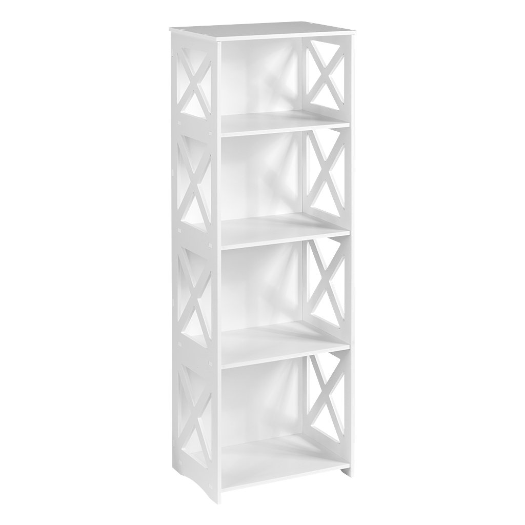 Finether 4-Shelf Shelving Unit, Waterproof Modular Cross White Wooden Plastic Composite 4 Tier Shelving Unit Storage Shelf Bookcase Display Shelf for Bedroom Living Room Kitchen Office