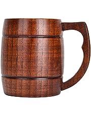 Houten Bierpul met Handvat, Handgemaakte Drinkbeker Theemok Bierbeker Bierpullen Biergeschenken voor Mannen