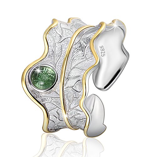 JIANGYUYAN S925 Sterling Silver Rings Natural Adjustable Leaf Ring Handmade Unique Fashion Jewelry for Women and Girls