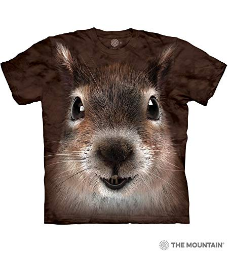 The Mountain Squirrel Face Adult T-Shirt, Brown, Small