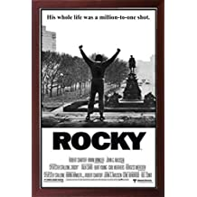 Brown Framed Classic Movie - Rocky Balboa 24x36 Dry Mounted Poster in Basic Detailed Grain Wood Frame