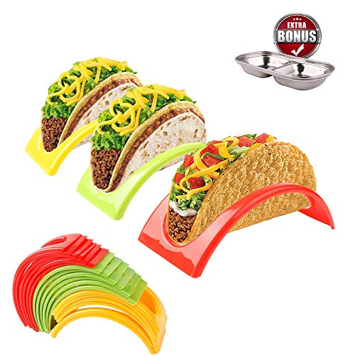 Roklur Premium Value Taco Stand Holders Party Pack - Colorful Non Toxic Set of 18 - BPA Free Plastic, Microwave and Dishwasher Safe - Holds Hard or Soft Shell for -