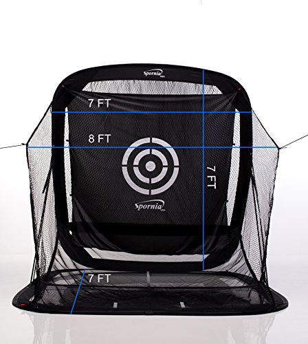 Spornia SPG-5 Golf Practice Net (3 in 1 Bundle) - Automatic Ball Return System W/ Target sheet,Two Side Barrier w/ Heavy Hitting Turf Mat w/ Chip Net Basket by Spornia (Image #8)