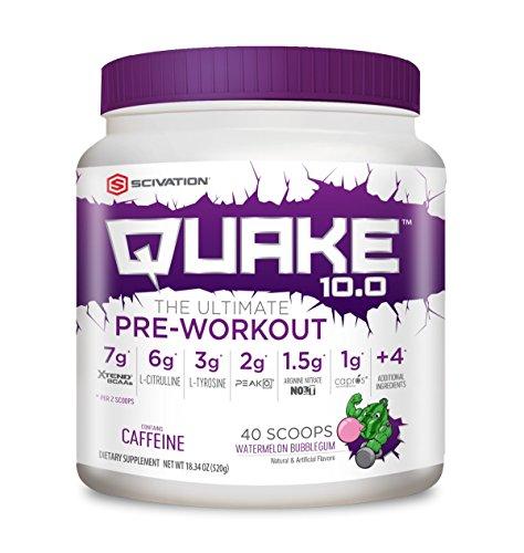 Scivation, Quake 10.0 Pre-Workout, Watermelon Bubble Gum, 40 Servings