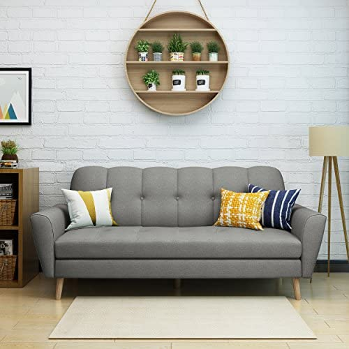 Christopher Knight Home Treston Mid-Century Fabric Sofa, Grey Natural