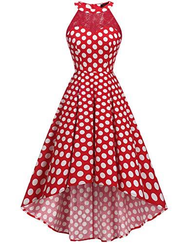 (DRESSTELLS Women's Vintage 50's Bridesmaid Halter Floral Lace Cocktail Prom Party Hi-Lo Dress Red White Dot M)