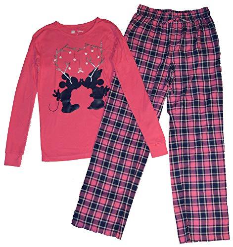 Gap Cotton Jersey - GAP Kids Girls Mickey & Minnie Pink Navy Plaid Christmas Flannel Pajamas 14