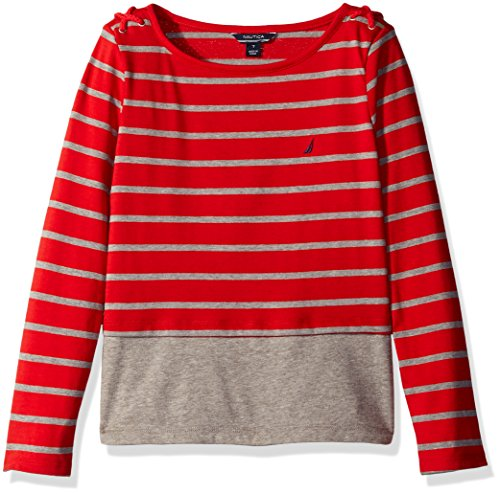 Nautica Girls Stripe Layered Knit Top with Grommet and Cord Detail