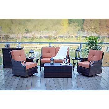 6pc Swivel And Rocking Aluminum And Wicker Deep Seating Patio Set
