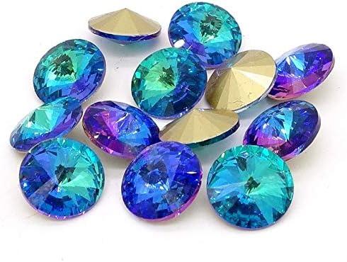 Amazon.com: Calvas New Light Blue Elements Crystal Glass Rivoli Loose Beads Jewelry Making 12mm14mm16mm - (Color: 14mm 15pcs): Arts, Crafts & Sewing