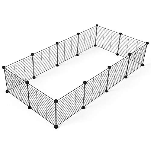 (Tespo Pet Playpen, Small Animal Cage Indoor Portable Metal Wire yd Fence for Small Animals, Guinea Pigs, Rabbits Kennel Crate Fence Tent, Black 12 Panels)