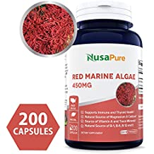 Pure Red Marine Algae 450mg 200 Capsules (NON-GMO & Gluten Free) Supports Joint, Cardiovascular, & Digestive Health, Healthy Immune, Natural Multivitamin - 100% MONEY BACK GUARANTEE!