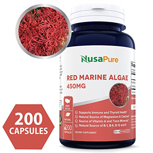 (Pure Red Marine Algae 450mg 200 Capsules (NON-GMO & Gluten Free) Supports Joint, Cardiovascular, & Digestive Health, Healthy Immune, Natural Multivitamin - 100% MONEY BACK GUARANTEE!)