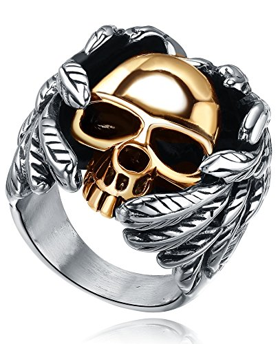 Stainless Steel Mens Gothic Biker Winged Gold Color Skull Ring   G5007c209