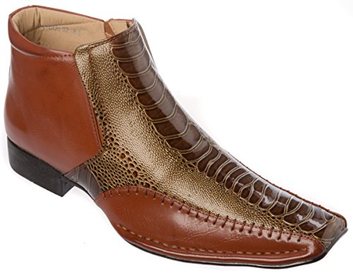 Alberto Fellini Mens Western Style Slip-on Side Zipper Brown Patent-Leather Cowboy Boots Size 9.5