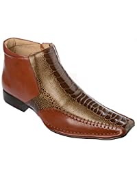 Mens Western Style Slip-on Side Zipper patent-leather Cowboy Boots Shoes