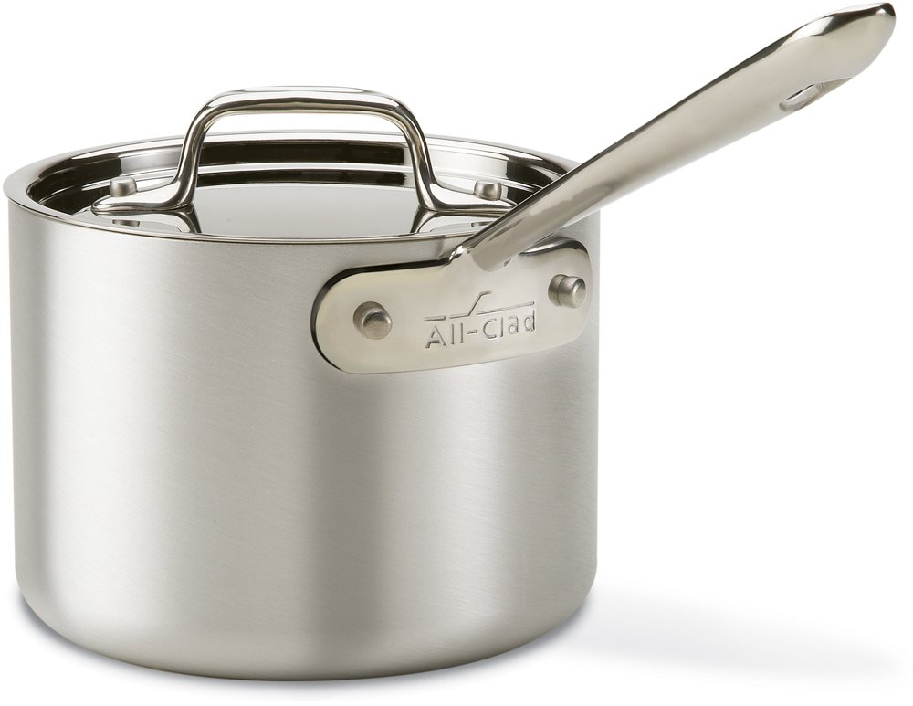 Tri-Ply Bonded Oven Safe PFOA Free Saucepan with Lid Cookware, 2-Quart, Silver