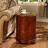 Drum Shaped Bedside Tables Walnut Brown Drum End Table for Living Room Birch Wood Round Cylinder Shaped Craftsmanship, Old Fashioned Antique