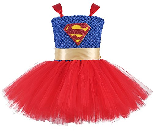 Tutu Dreams Superhero Costume for Little Girl Red and Blue (Tutu Superhero Costume)