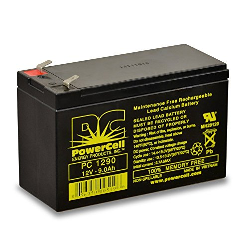 Rechargeable Powercells (PowerCell Energy Products PC1290 Maintenance Free, Rechargeable, Sealed Lead, AGM Battery, 12V, 9 Ah)