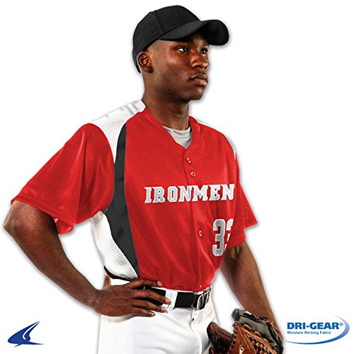 Blackouttees Champro BS33 Adult Bull Pen Full Button Baseball Jersey Bull Pen Full Button Jersey Scarlet, White, Graphite 3XL Full Button Adult Baseball