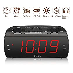 "DreamSky Large Alarm Clock Radio with FM Radio and USB Port for Charging, 1.8"" LED Digit Display with Dimmer, Snooze, Sleep Timer, Adjustable Alarm Volume, Headphone Jack, Outlet Powered"