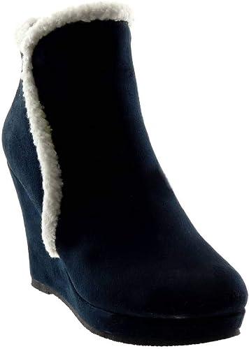 stivali donna pelliccia zeppa blu
