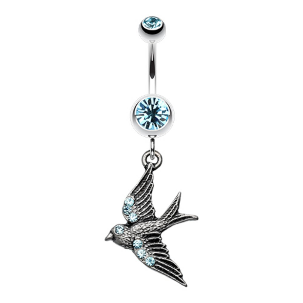 Flying Swallow Sparkle WildKlass Belly Button Ring