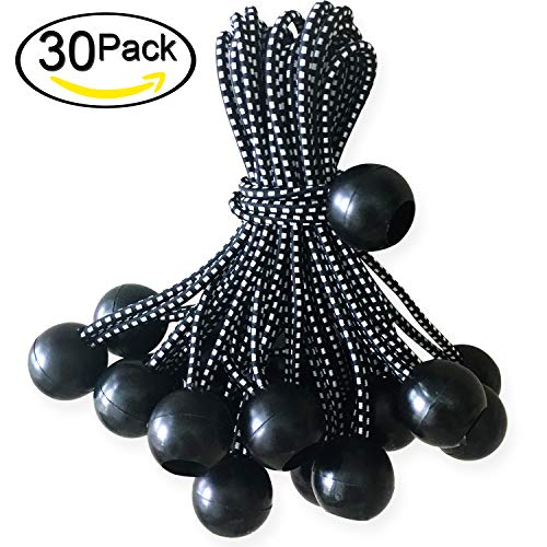 ABCCANOPY Heavy Duty Ball Bungee Canopy Tarp Tie Down Cord Elastic String Ball Bungee tarp Ball Ties(Black&White 30pcs, 6