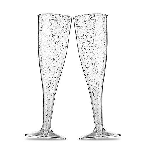 BloominGoods Plastic Champagne Flutes | 50 LARGE 7 oz Silver Glitter Champagne Toasting Glasses | Disposable or Reusable (50-Pack)