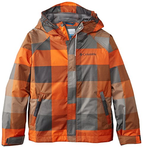 Columbia Little Boys' Fast and Curious Rain Jacket, Tangy Orange Plaid, XX-Small (Lined Plaid Raincoat)
