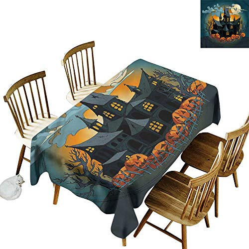 (one1love Water Resistant Table Cloth Halloween Medieval Haunted Castle Dinner Picnic Table Cloth Home Decoration 50